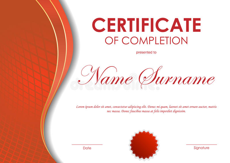 Certificate Of Completion Template Stock Vector - Illustration of - certificate of completion sample