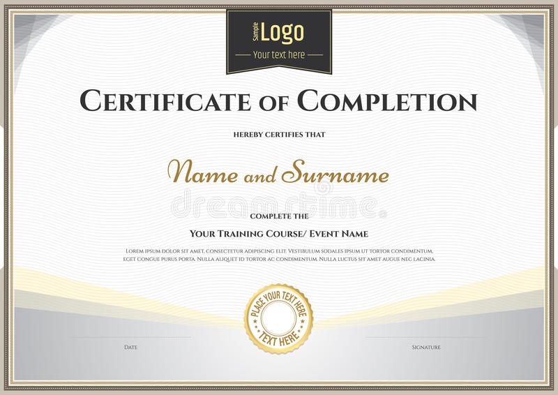 Certificate Of Completion Template In Vector For Achievement Gra - blank achievement certificates