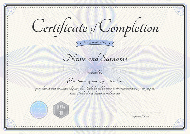 Certificate Of Completion Template In Vector With Florist Stock