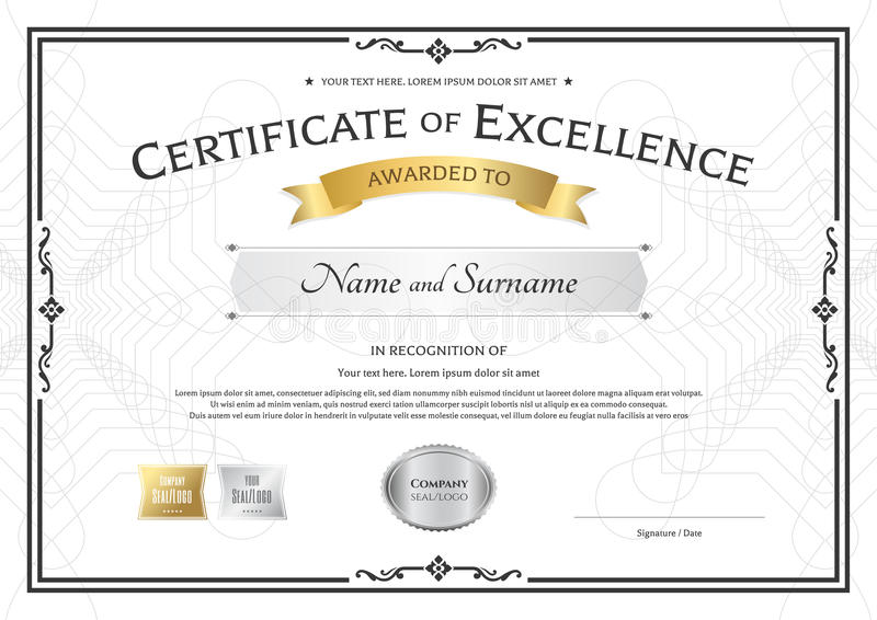 Certificate Of Excellence Template With Gold Award Ribbon On Abs - Award Paper Template
