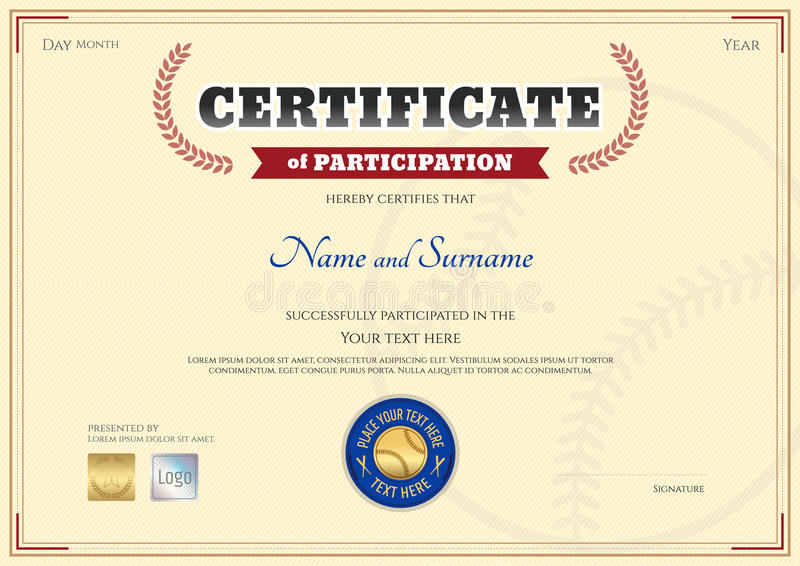 Certificate Of Participation Template In Baseball Sport Theme Stock - certificate of participation format
