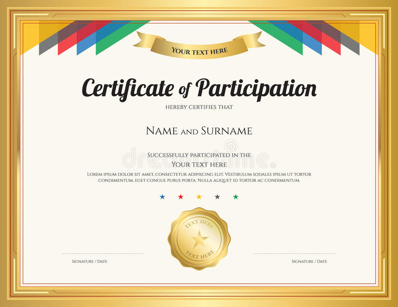 Certificate Of Participation Template With Gold Border Stock Vector - certificate of participation template