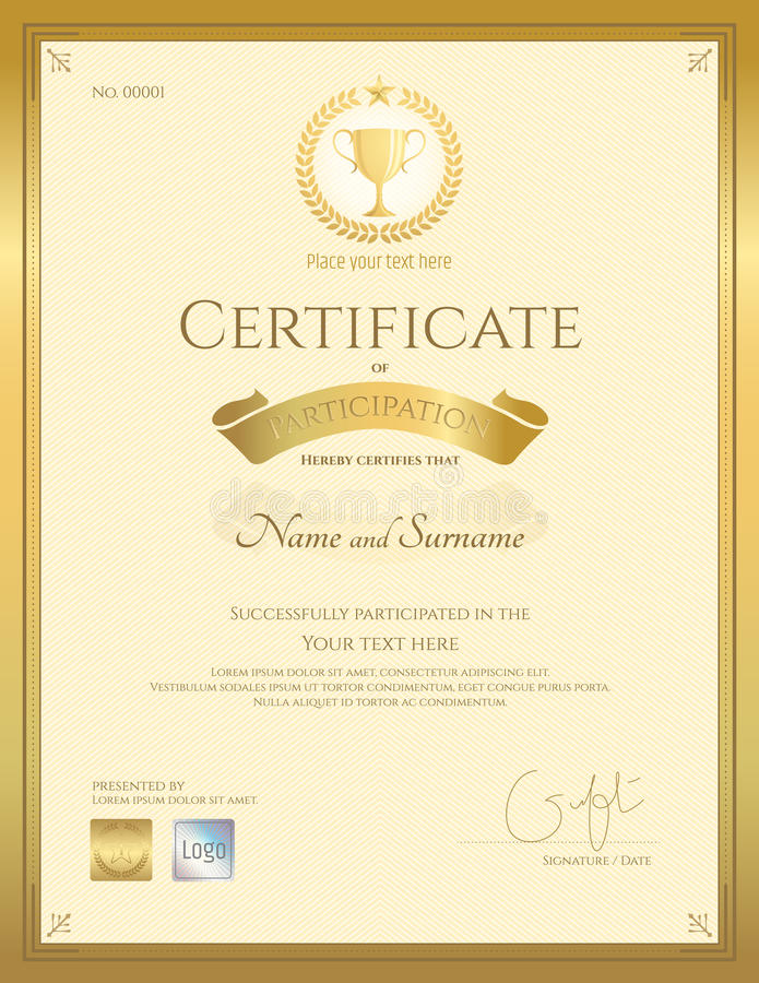 Certificate Of Participation Template In Gold Color Stock Vector - certificate of participation template