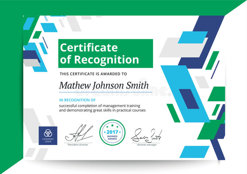 Certificate Of Recognition Template In Modern Design Business D - blank certificate of recognition