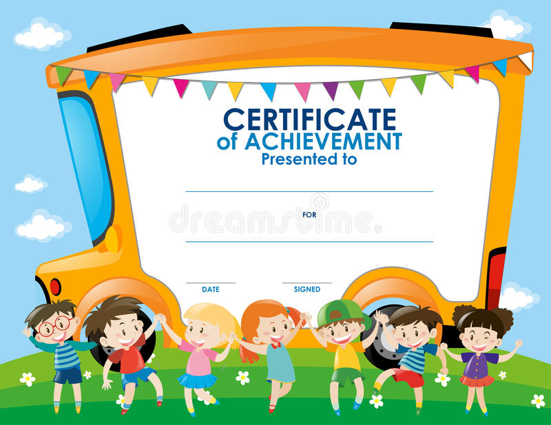 Certificate Template With Children And School Bus Stock Illustration