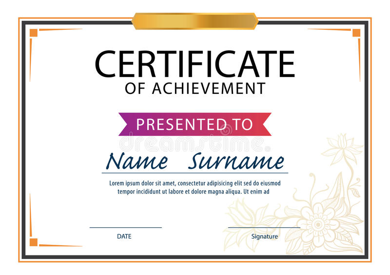 Certificate Template,diploma ,A4 Size Stock Illustration