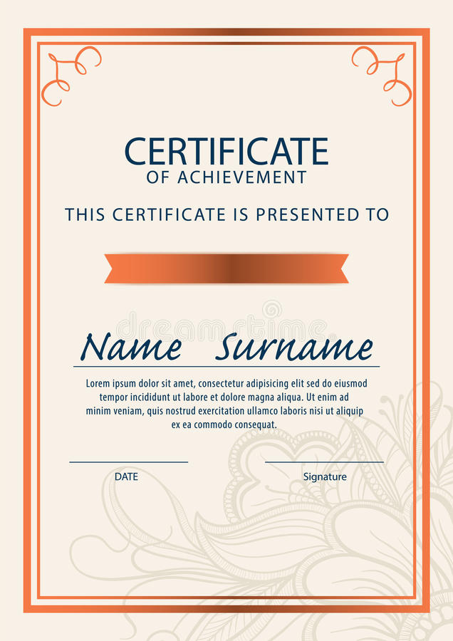 Certificate Template,diploma,A4 Size ,vector Stock Vector - certificate layout