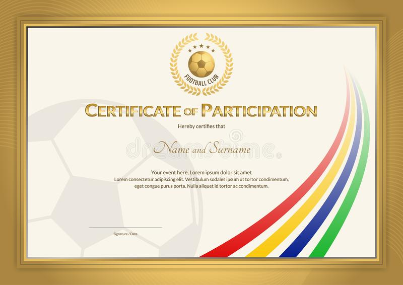 Certificate Template In Football Sport Color Stripe Theme With G
