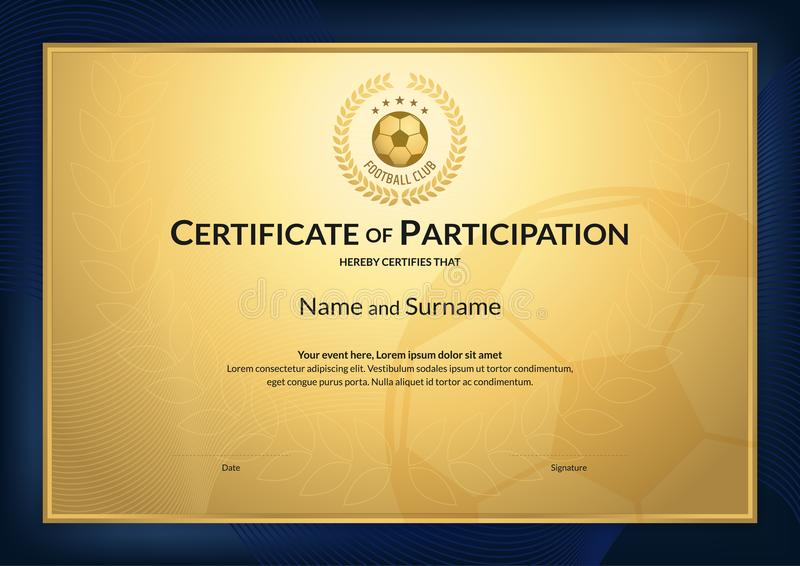 Certificate Template In Football Sport Theme With Gold Backgroun - football certificate template