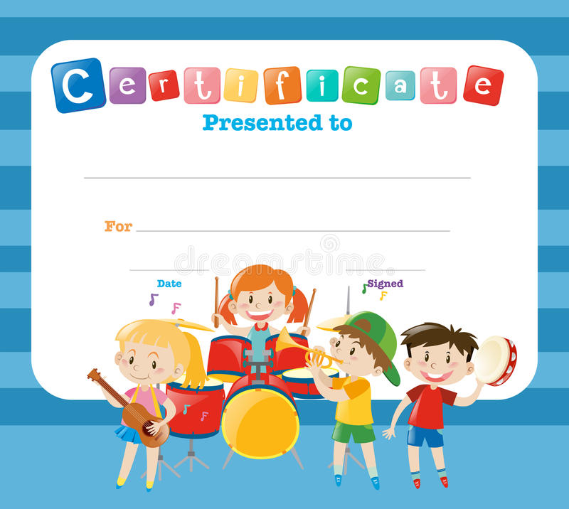 Certificate Template With Kids In The Band Stock Vector - Image - certificate template for kids