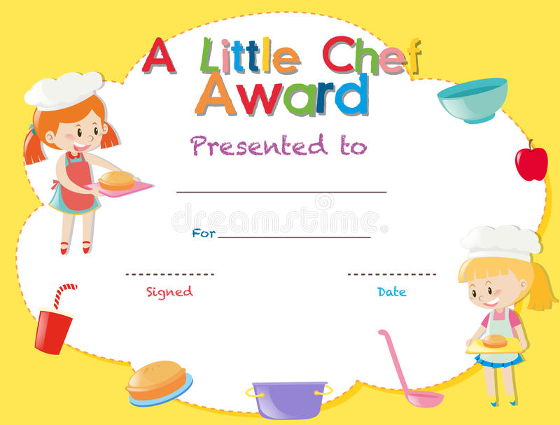 Certificate Template With Kids Cooking Stock Illustration - certificate template for kids