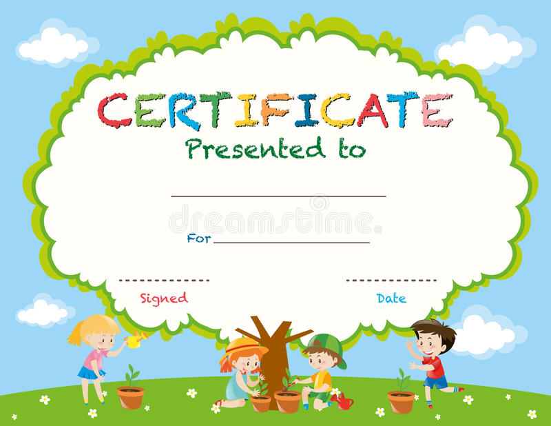 Certificate Template With Kids Planting Trees Stock Vector - certificate template for kids