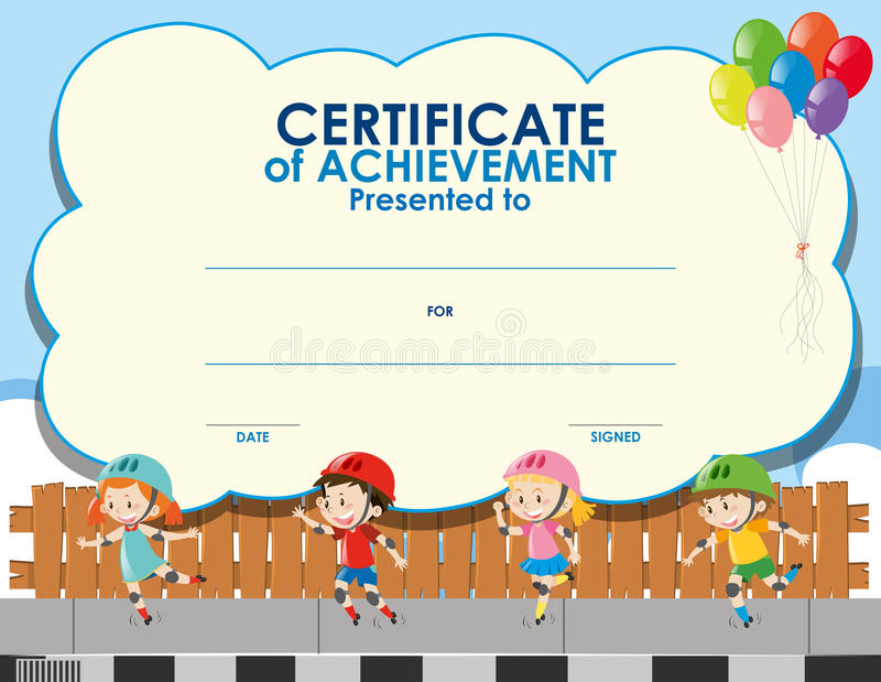 Certificate Template With Kids Skating Stock Illustration - certificate template for kids