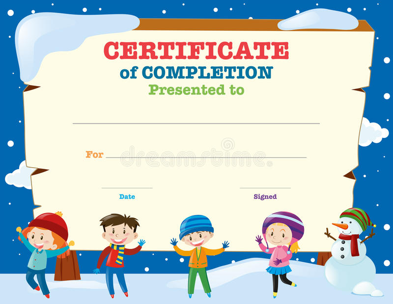 Certificate Template With Kids In The Snow Stock Vector - certificate template for kids