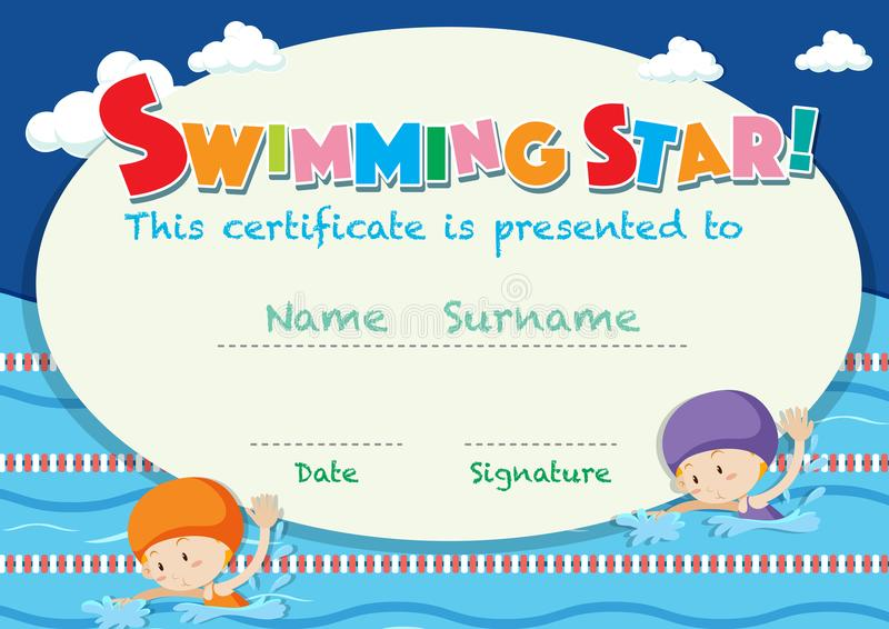 Certificate Template With Kids Swimming Stock Vector - Illustration - certificate template for kids