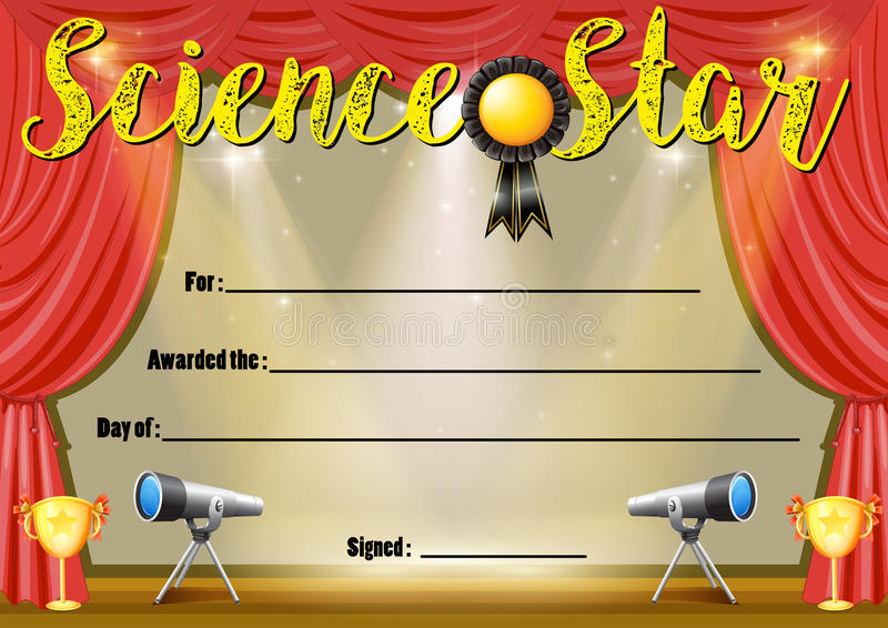 Certificate Template For Science Star Stock Vector - Illustration of