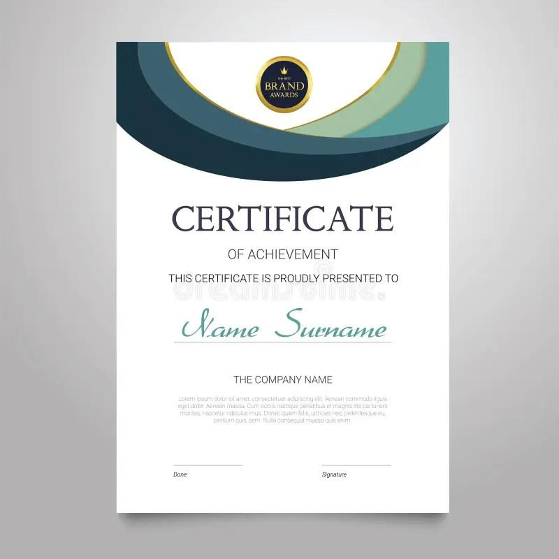 Certificate Template - Vertical Elegant Vector Document Stock Vector