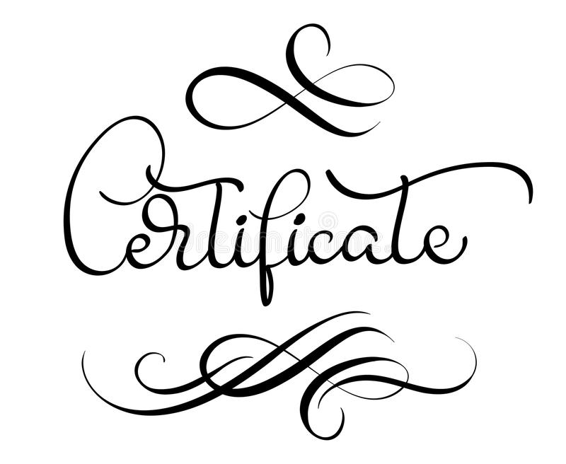 Certificate Word With Flourish On White Background Calligraphy - certificate in word