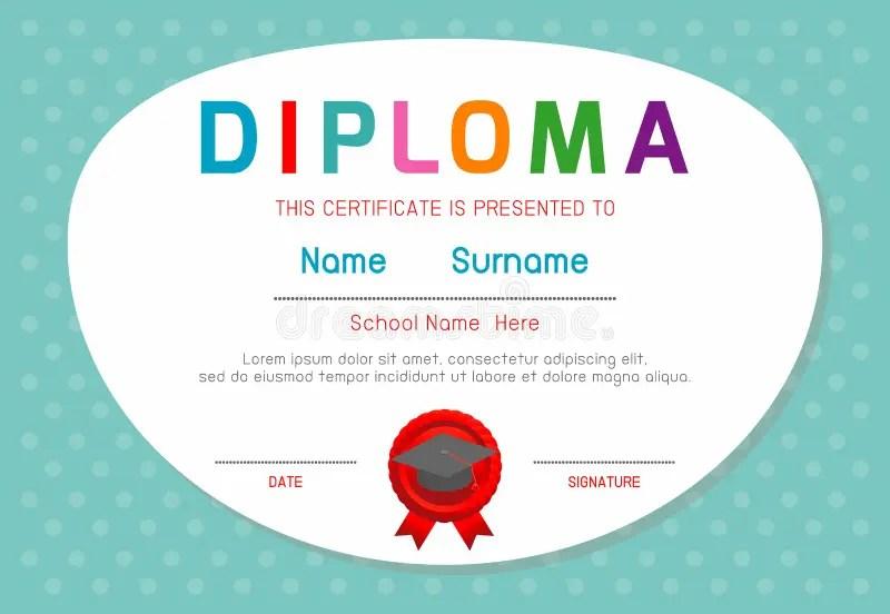 Certificates Kindergarten And Elementary, Preschool Kids Diploma