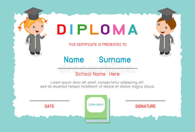 Certificates Kindergarten And Elementary, Preschool Kids Diploma