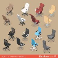 Chair Seat Armchair Recliner Flat Vector Isometric ...