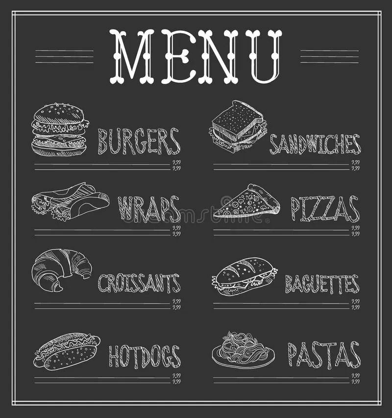 Chalkboard Menu Template Vector Illustration Stock Vector - chalkboard writing template