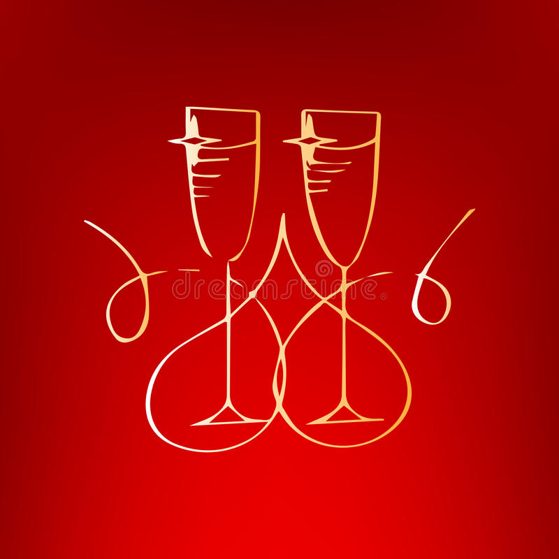 Champagne Glass With Heart Isolated On Red Background Wedding
