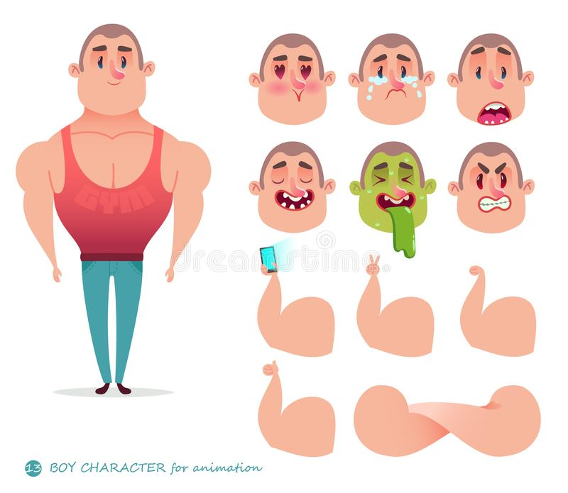 Character Athlete Body-builder Stock Illustration - Illustration of