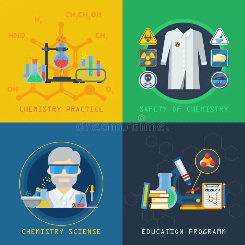Chemistry 2x2 Design Concept Set Stock Vector - Illustration of bulb - chemistry safety
