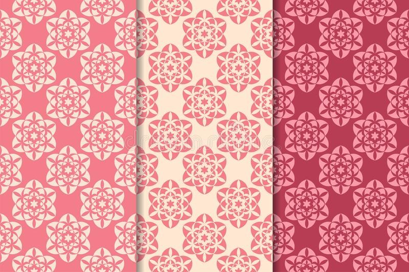 Cherry Red Floral Ornamental Designs Vertical Seamless Patterns - vertical designs