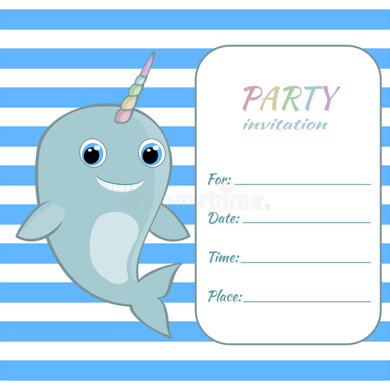 Children Birthday Party Invitation Card Template Baby Narwhal With - birthday party card template