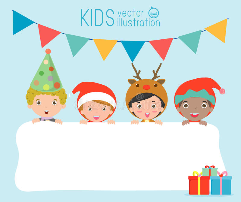 Children And Greeting Christmas And New Year Card, Kids Peeping