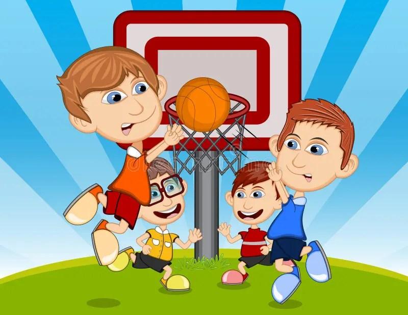Children Playing Basketball On The Park Cartoon Vector Illustration - cartoon children play