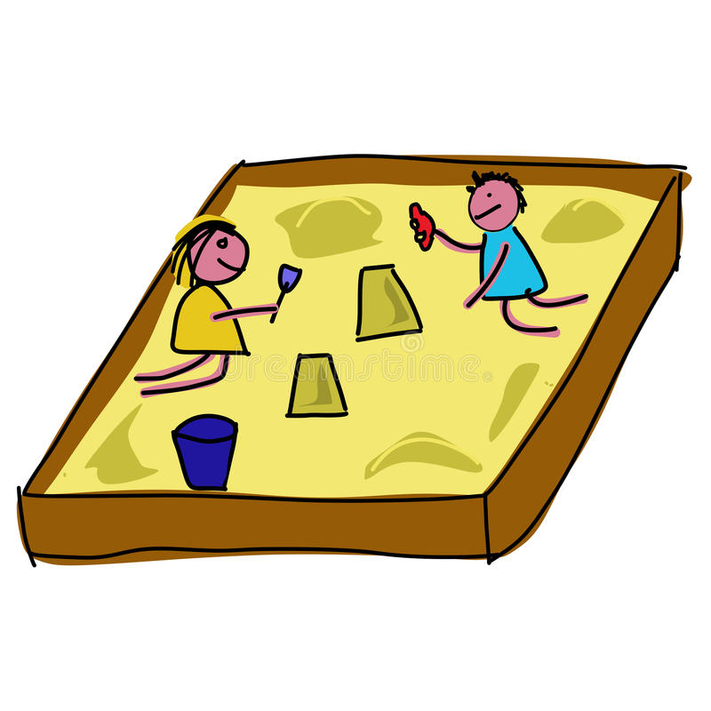 Sandkasten Clipart Childs Playing In A Sandpit Stock Vector - Illustration Of