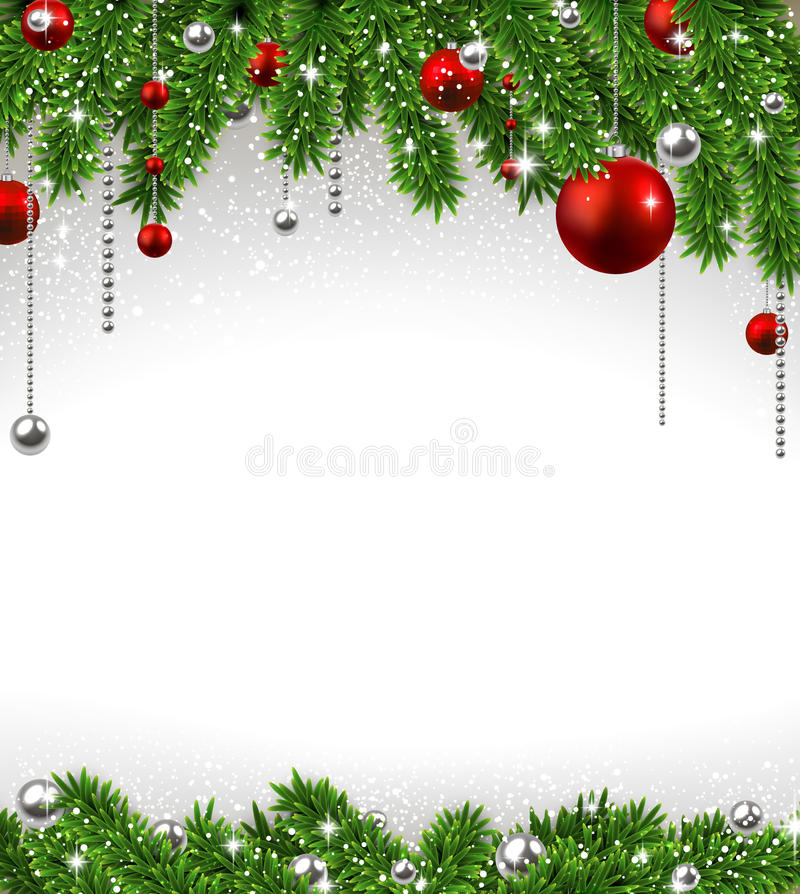 Christmas Background With Fir Branches And Balls Stock Vector - christmas background image
