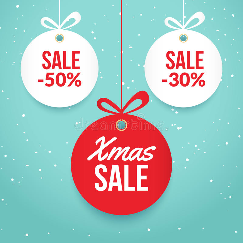Christmas Balls Sale Special Offer Vector Tag New Year Holiday - sale tag template