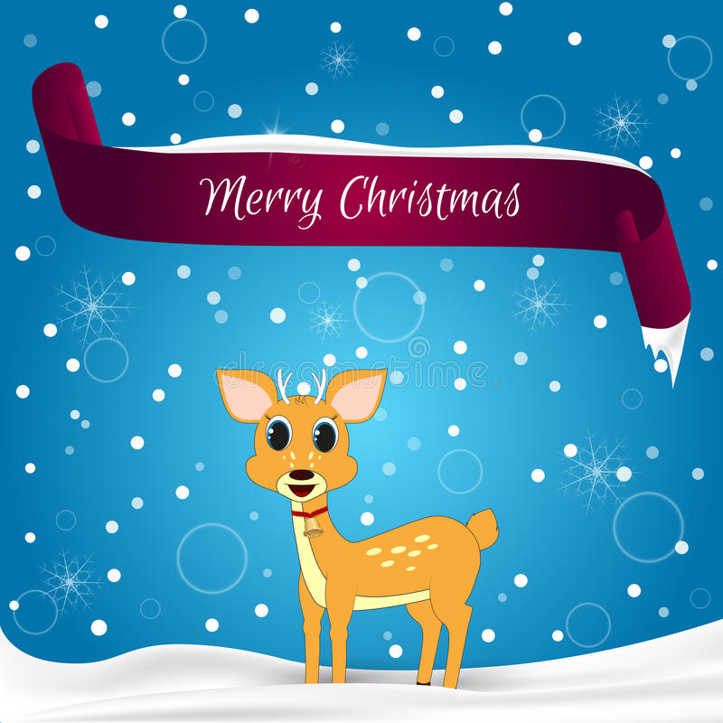 Christmas Card Done In Blue With Snowflakes, Red Banner With The
