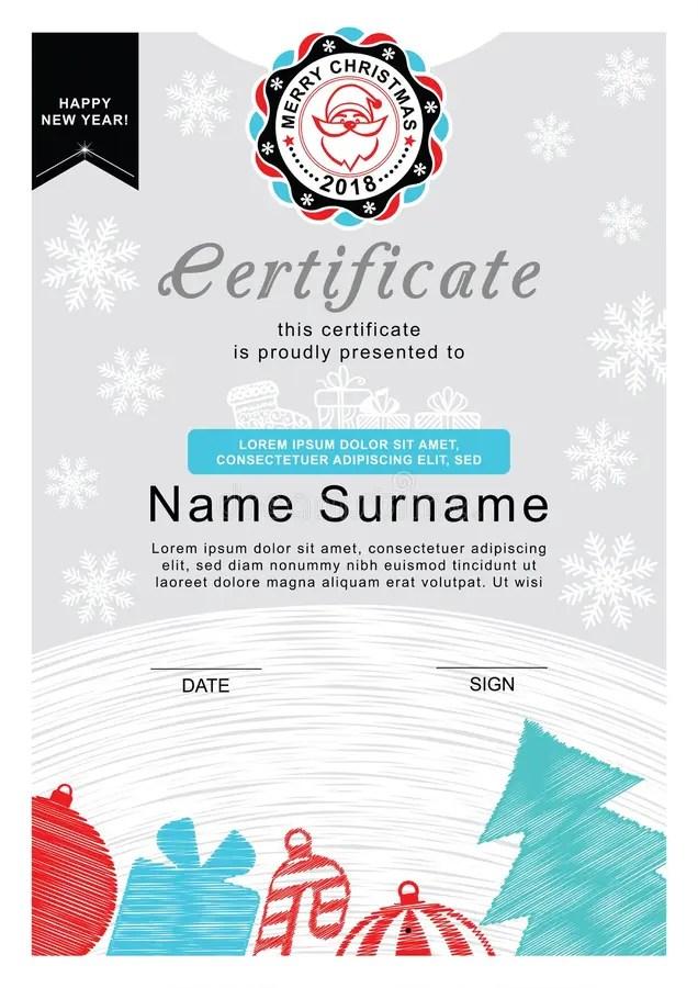 Christmas Certificate Santa On The Badge, Christmas Tree And - christmas certificate template