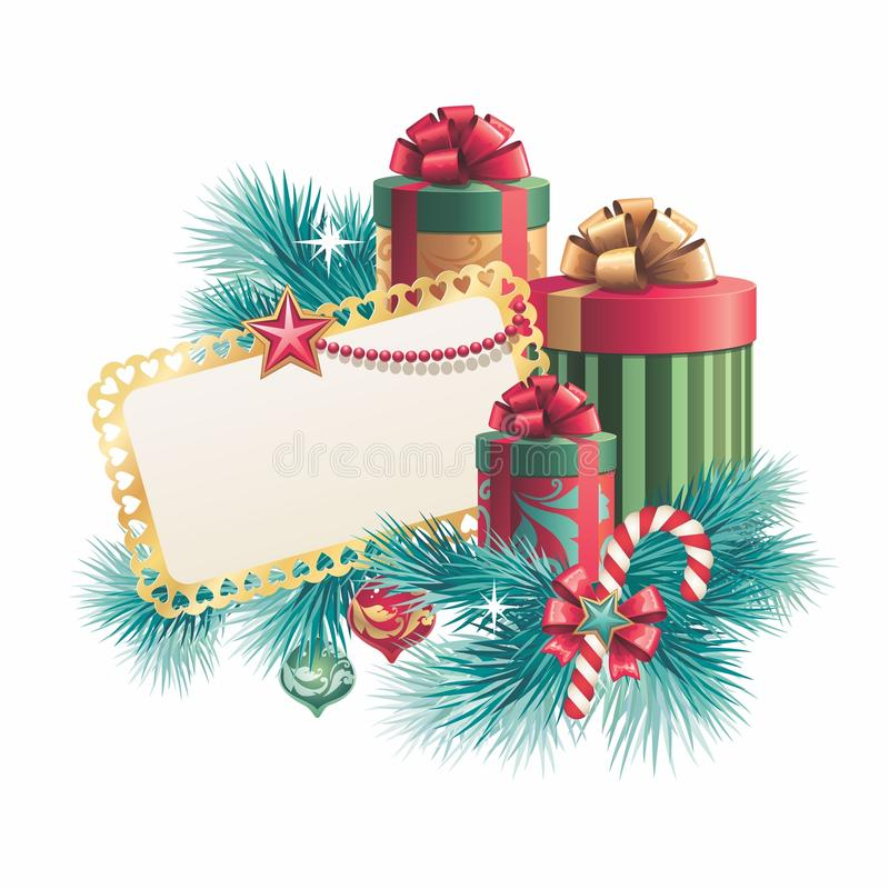 Christmas Gift Boxes With Blank Greeting Card Stock Illustration