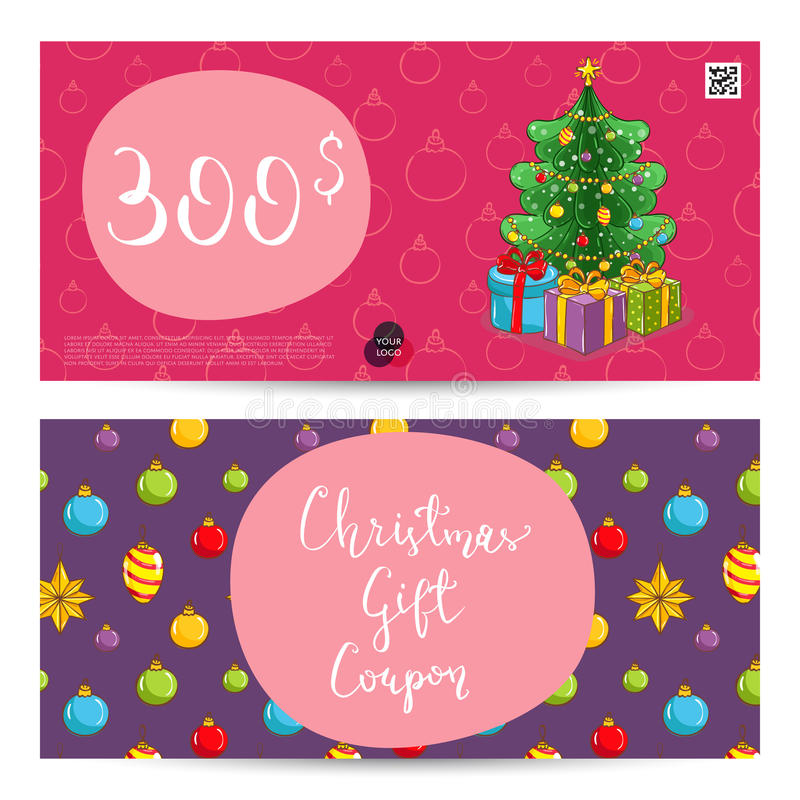 Christmas Gift Voucher With Prepaid Sum Template Stock Vector - christmas gift vouchers templates