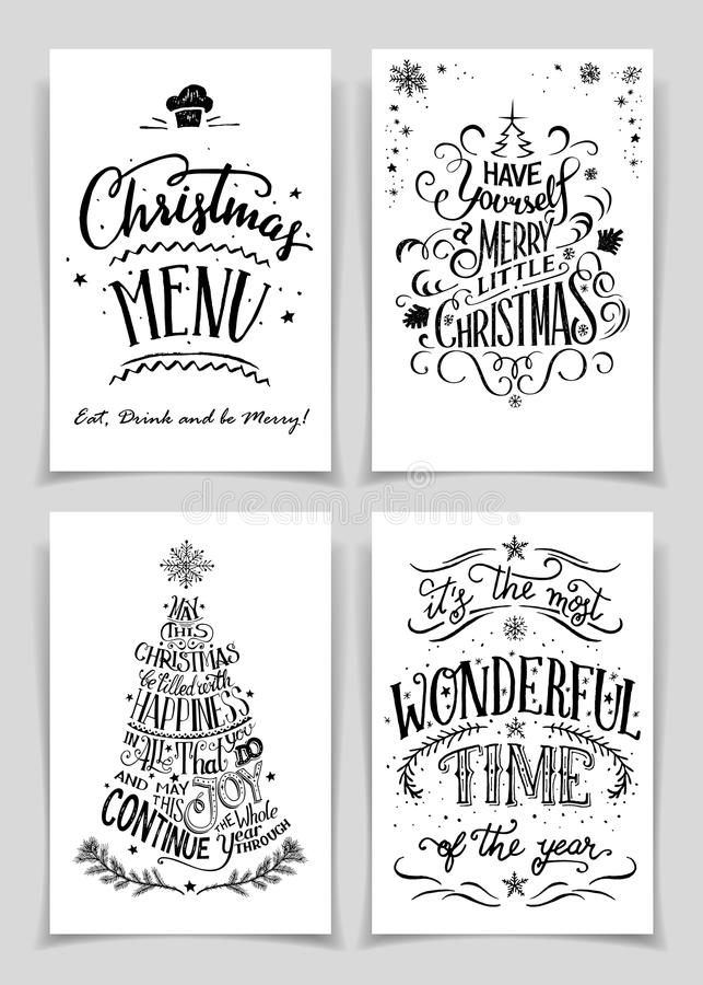 Christmas Hand Lettered Greeting Cards Set Stock Vector - christmas cards black and white