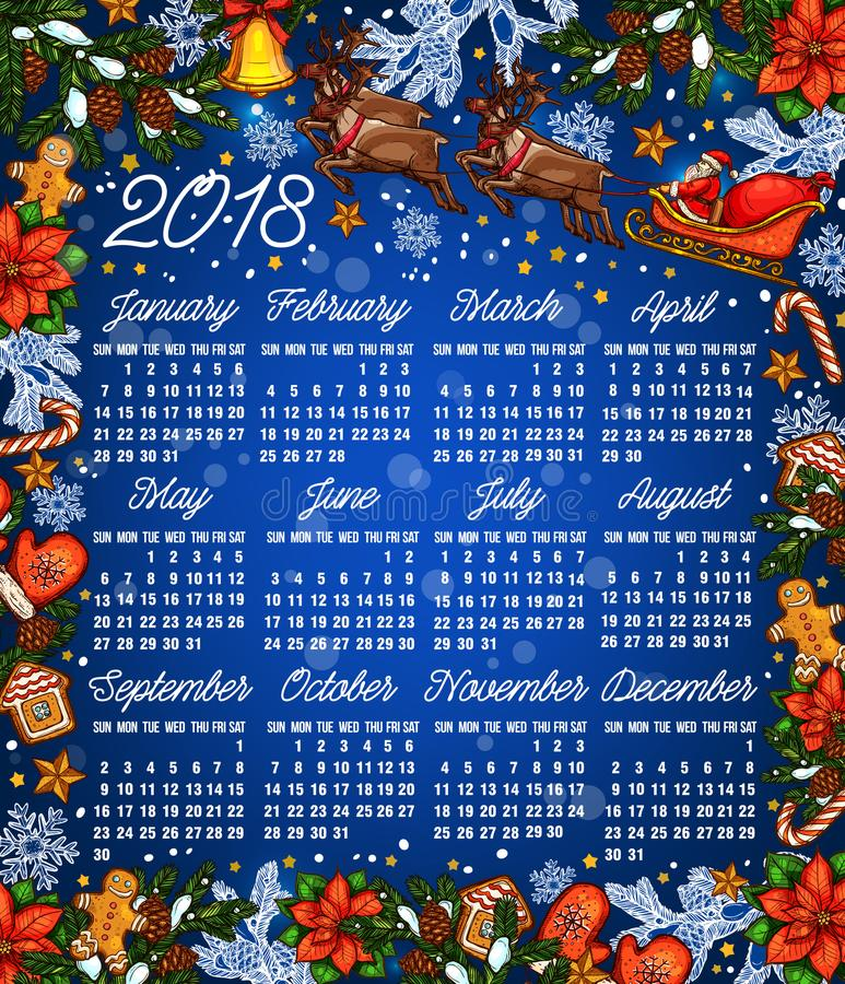 Christmas Holiday 2018 Year Calendar Template Stock Vector - holiday calendar template