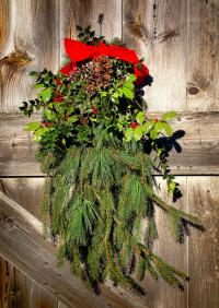Christmas Holiday Wreath Decoration Old Barn Door Stock ...