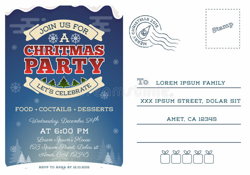 Christmas Party Postcard Invitation Template Stock Vector