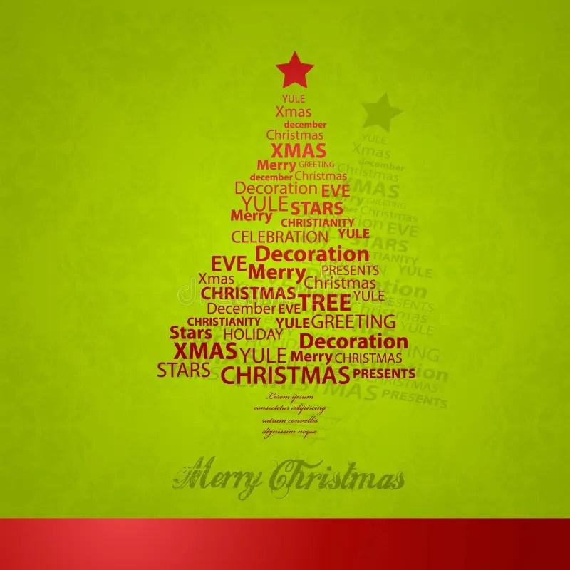 Christmas Tree Of Christmas Words Stock Vector - Illustration of - christmas tree words