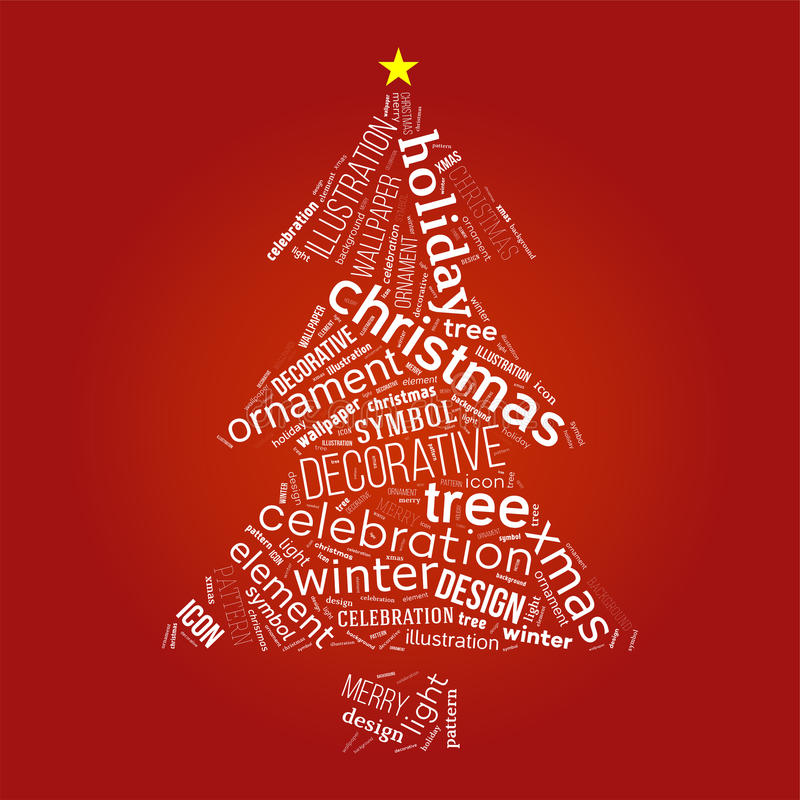 Christmas tree with words stock illustration Illustration of - christmas tree words