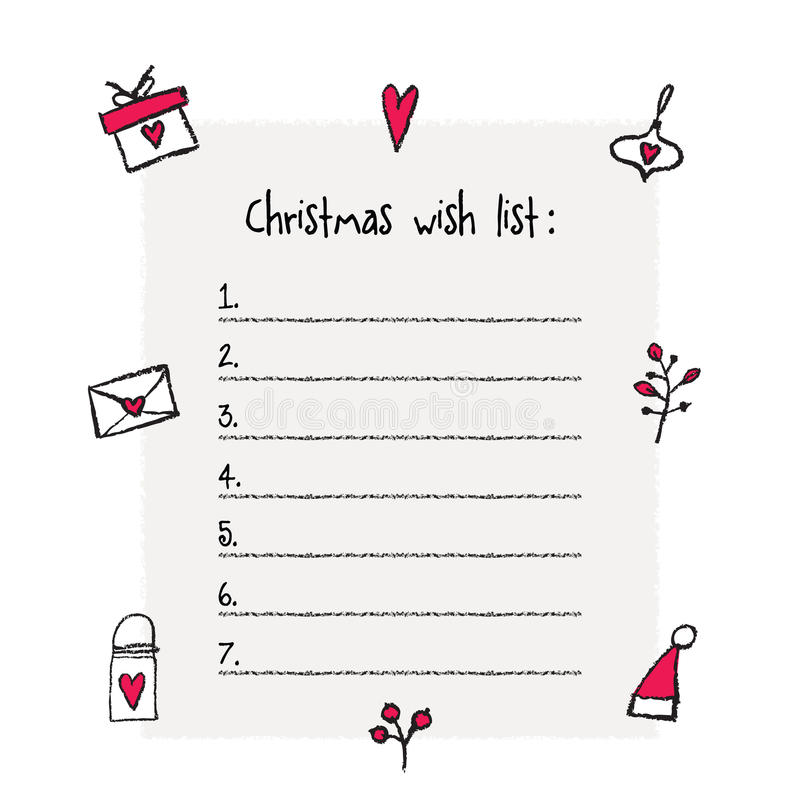 Christmas Wish List Template Stock Vector - Illustration of classic - christmas wish list paper