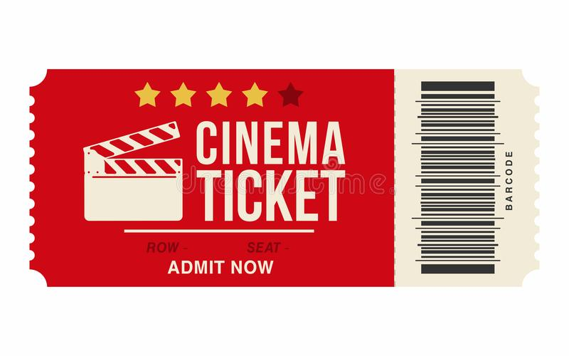 Cinema Ticket Isolated On White Background Realistic Cinema Or - movie ticket template