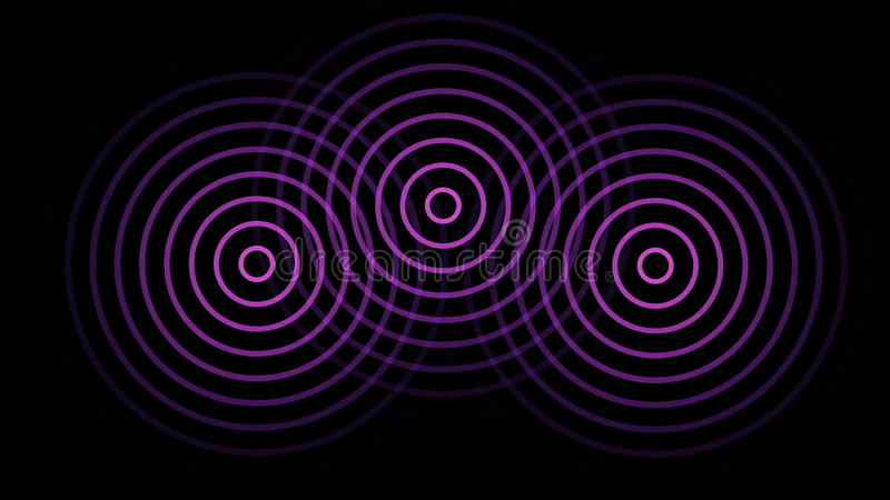 3 Circles Or Radio Waves Radiating Out From The Center Stock Footage - animation circles