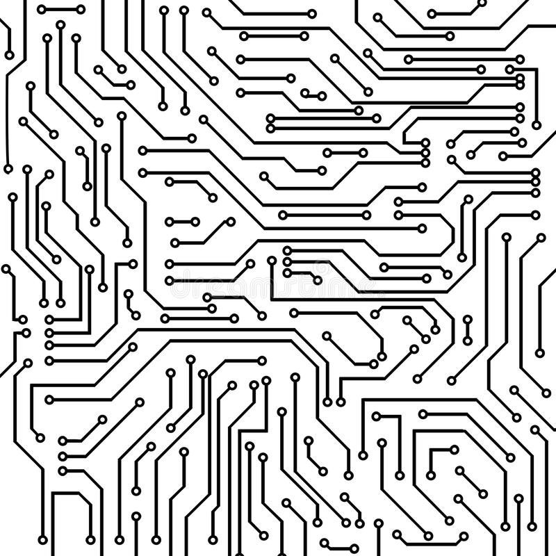 circuit board texture and pins on computer motherboard stock photo